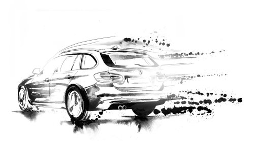 Black and white illustration of realistic car