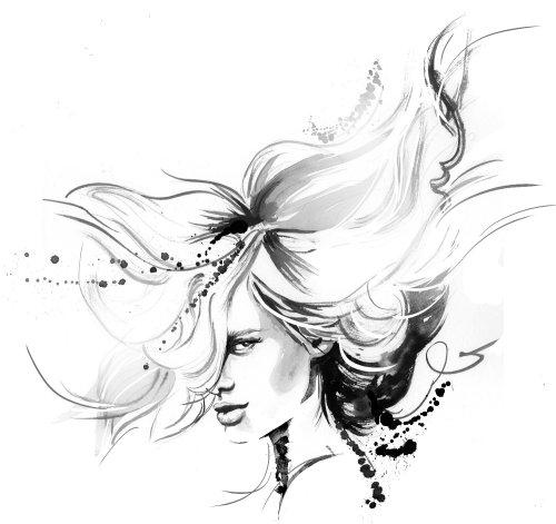 Sketch art of long hair girl