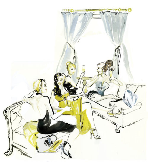 Illustration of a female friends having a cocktail party