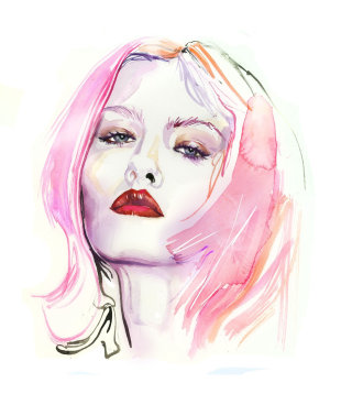 original watercolor fashion illustration of lady face with red lipstick