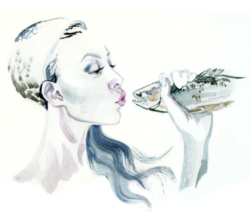 Watercolor illustration of a lady  kissing fish