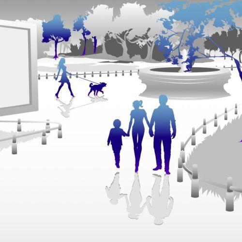 People walking in a garden illustration by Jessine Hein