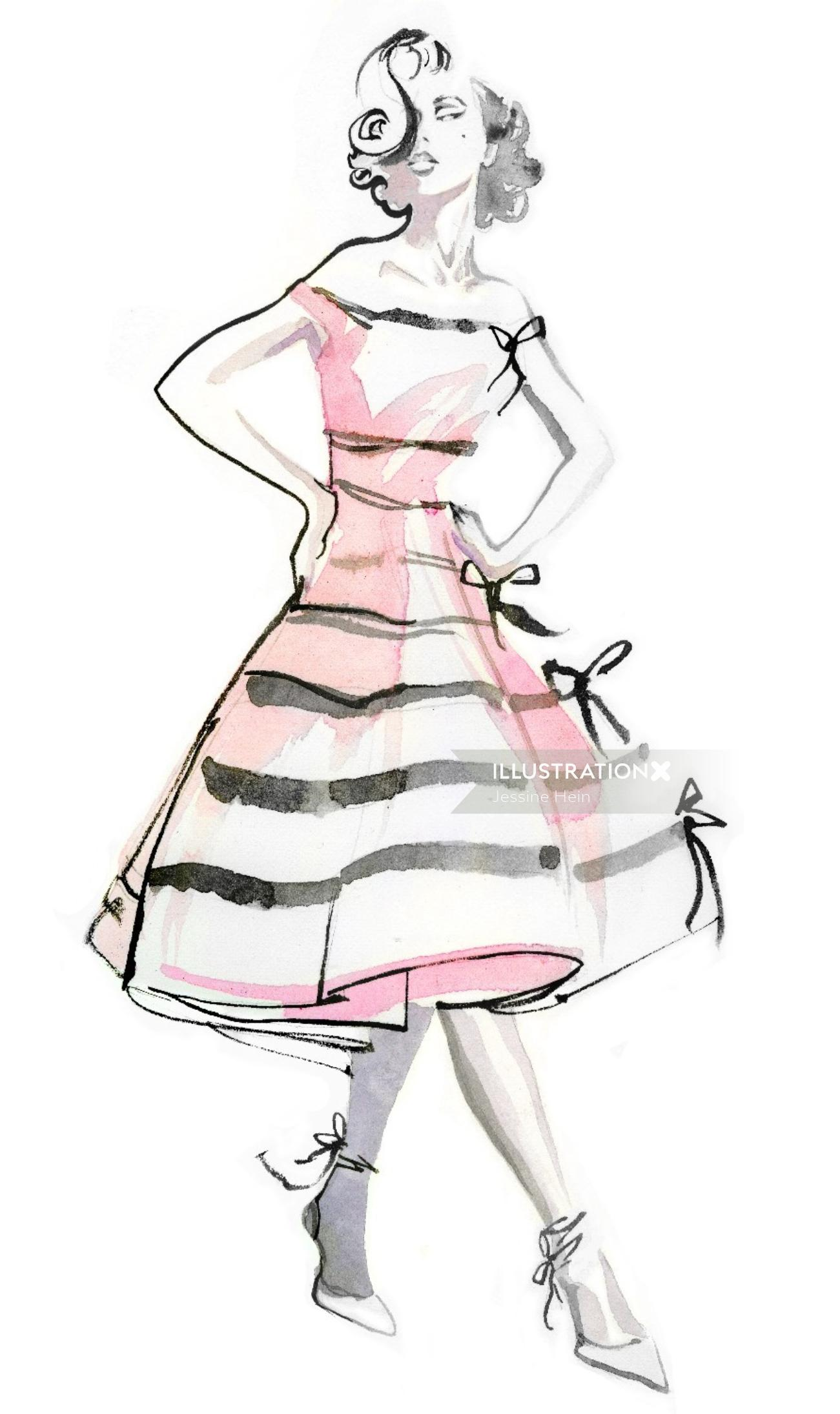 Fashion watercolor painting illustration of a woman