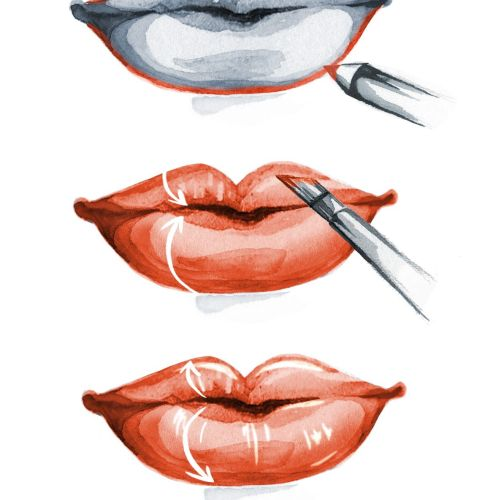 Fashion illustration of lipstick