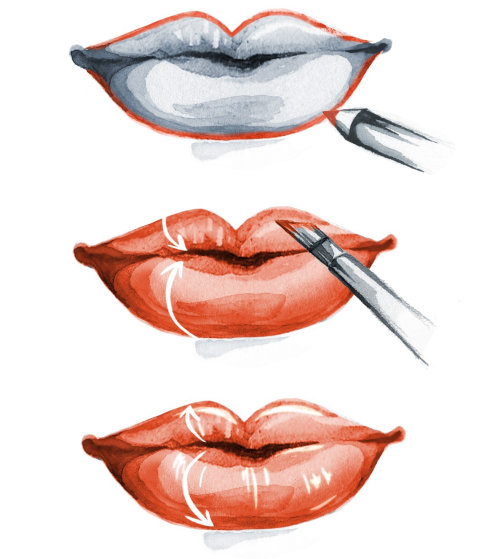 Fashion illustration of lipstick