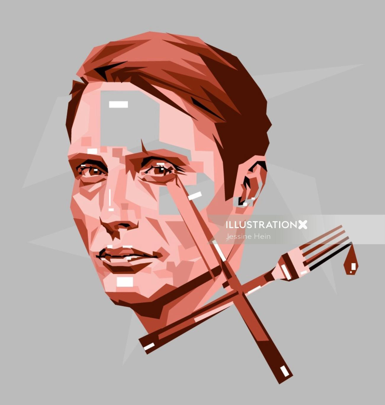 Vector portrait illustration of man