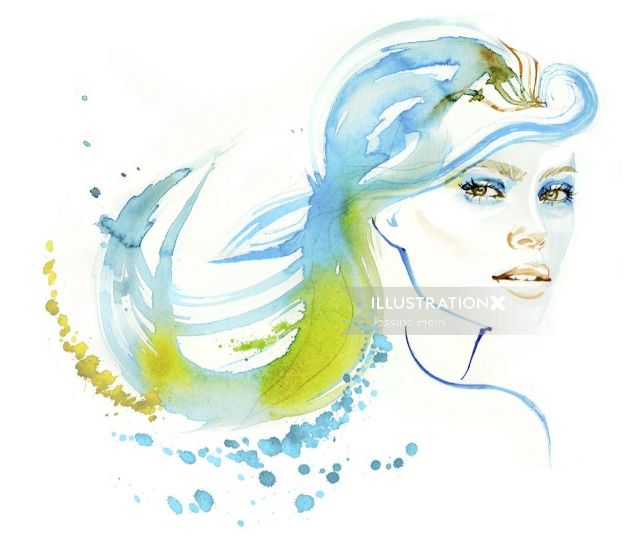 watercolor illustration of  a lady with blue hair