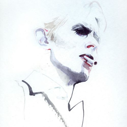 watercolor portrait of a man holding cigarette on lips