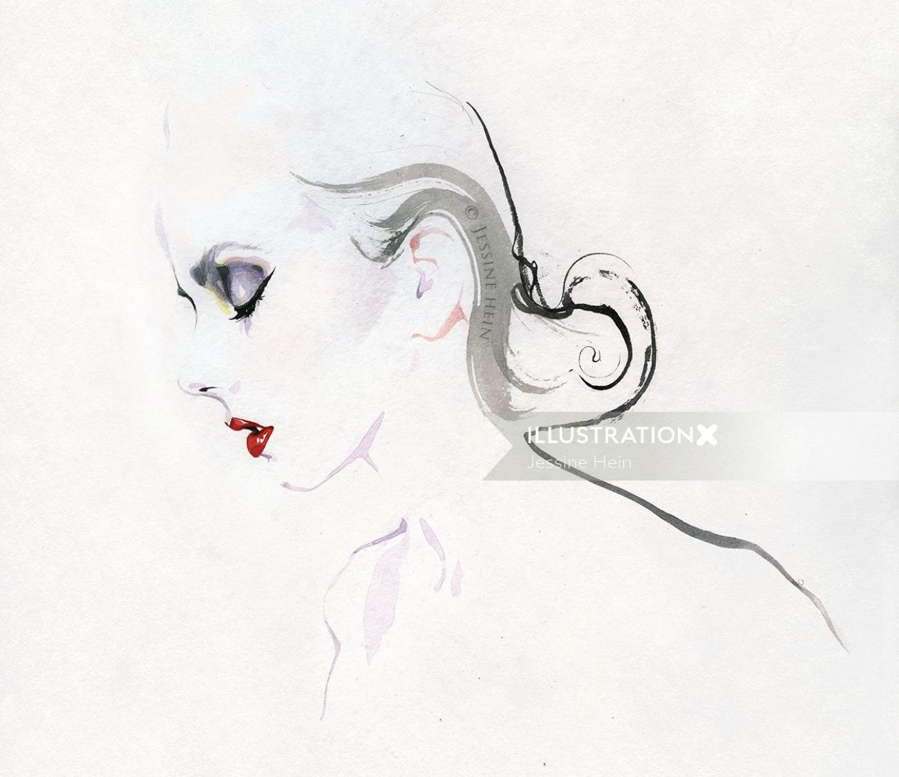 fashion illustration of a woman face
