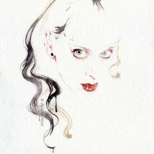 watercolor painting of a stylist woman with blue eyes
