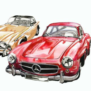 watercolor sketches of Benz cars