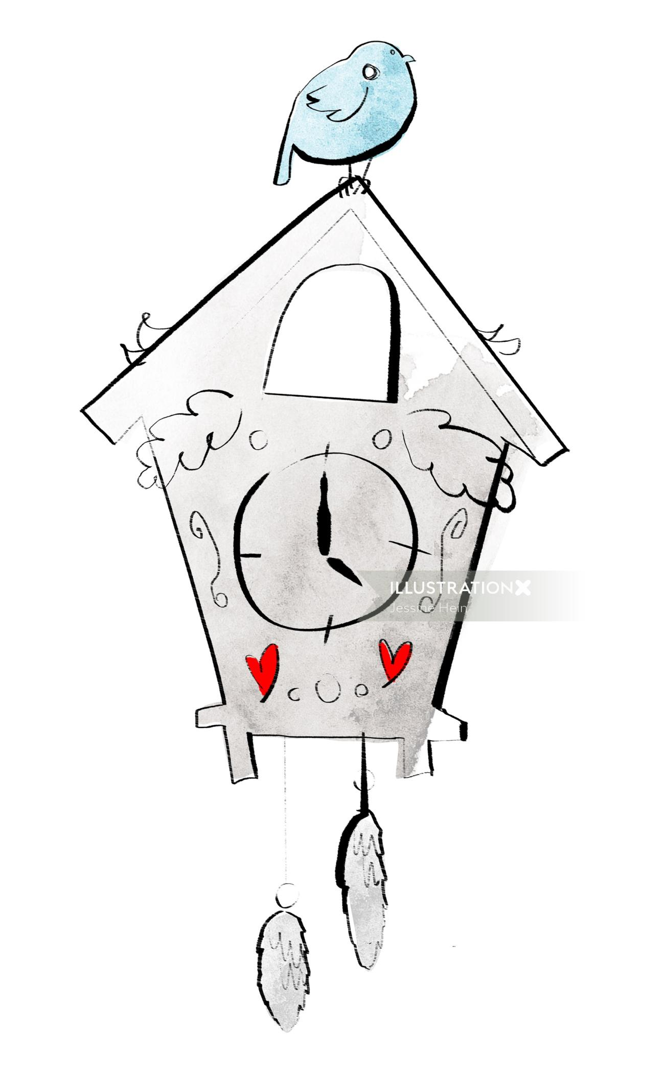 Clock line illustration by Jessine Hein
