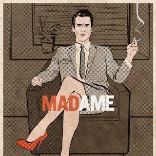 Pop art of a woman on suit holding cigarette