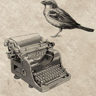 Classic comic book style illustration of typewriter with a bird