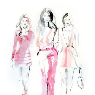 Fashion illustration of beautiful ladies wearing pink dress