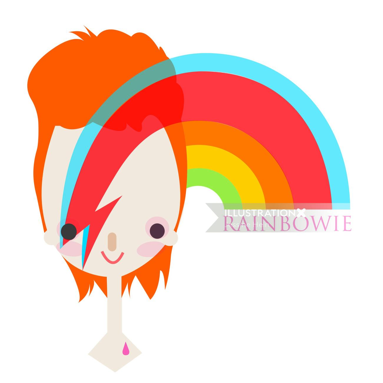 illustration of the girl rainbow