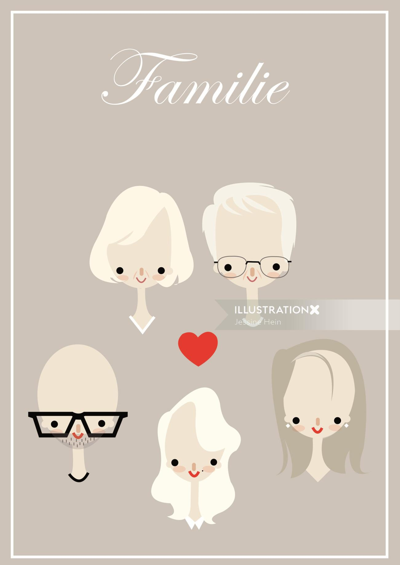 beautiful vector graphics illustration of family