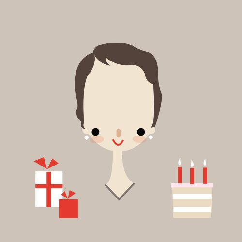 vector graphic of a girl with cake and gifts