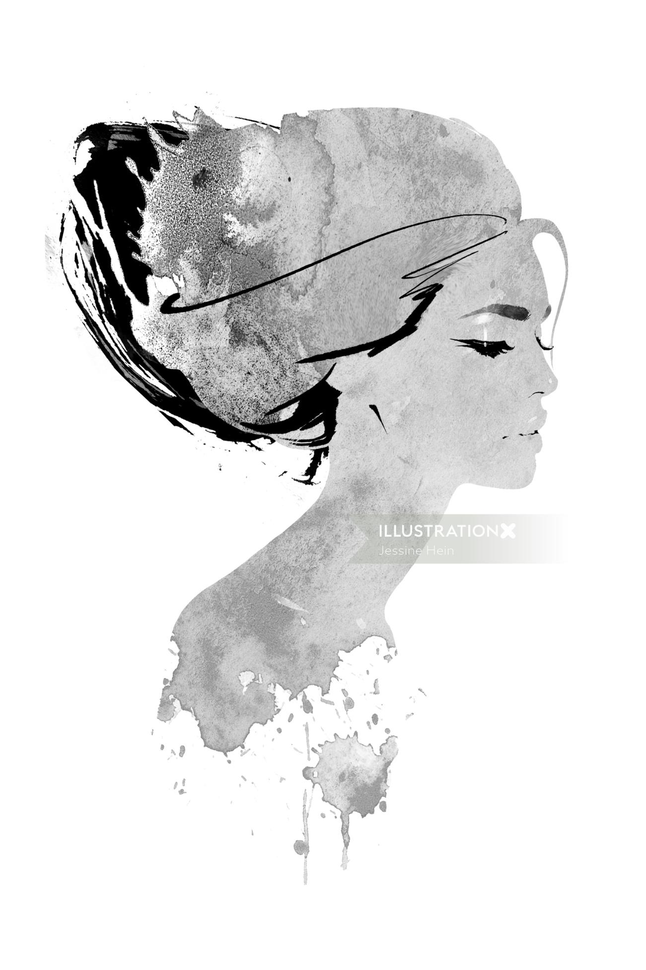 abstract woman face watercolor fashion illustration