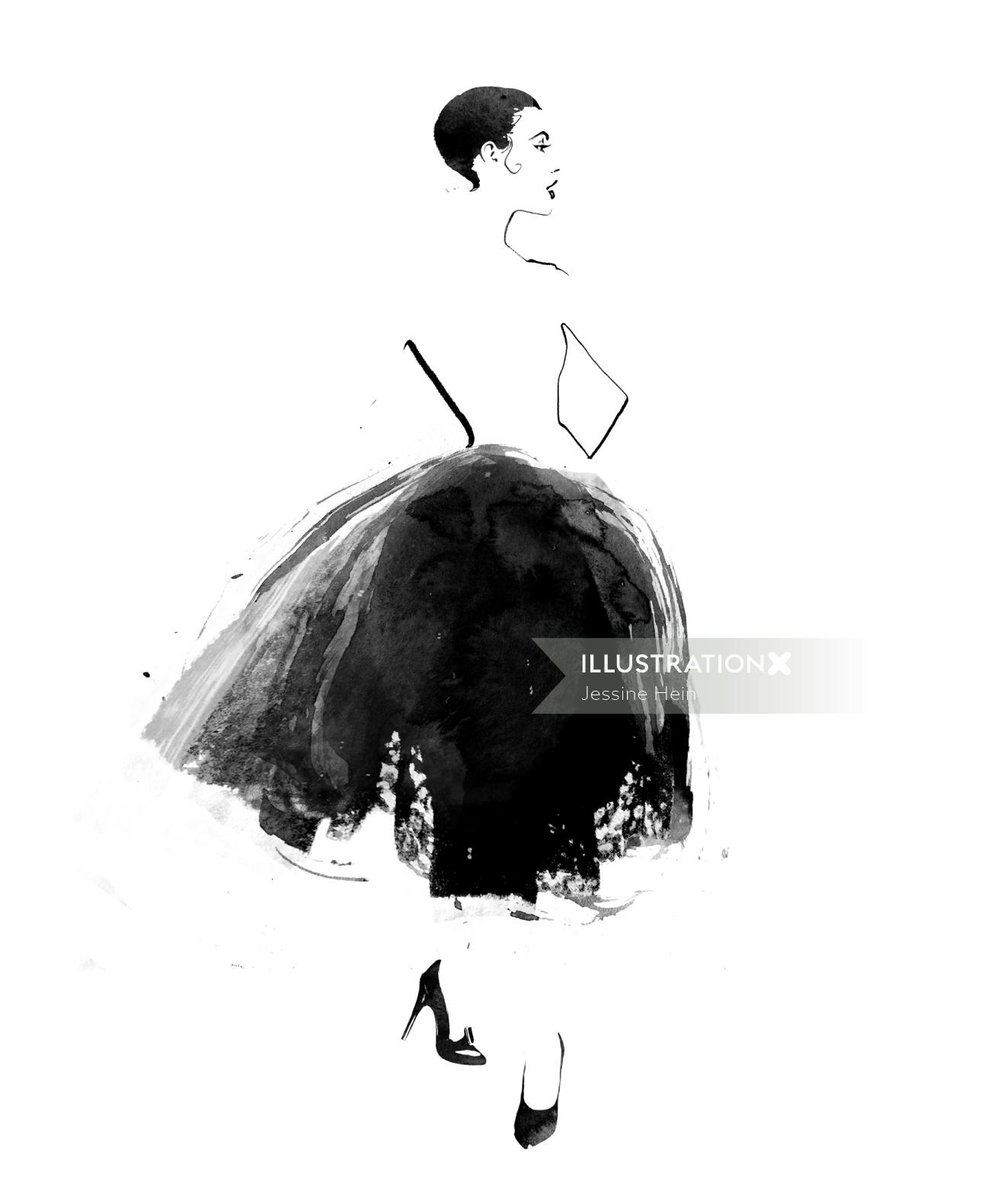 watercolor fashion illustration of a woman with elegant dress
