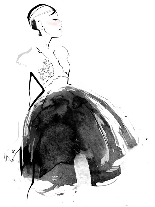 watercolor fashion illustration of a beautiful lady with elegant dress