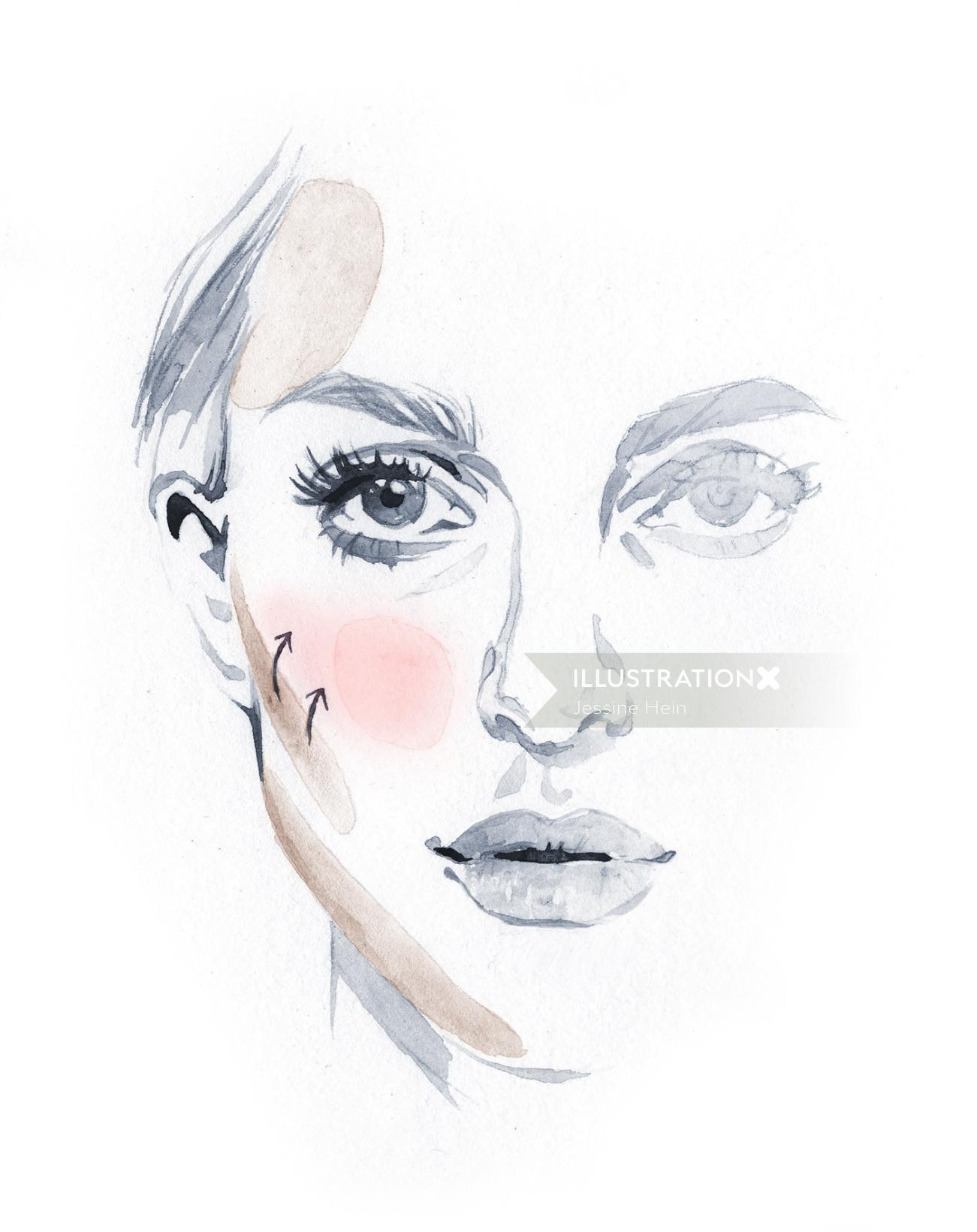 watercolor painting of a lady face
