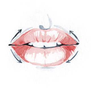 watercolor illustration of a beautiful lips of woman