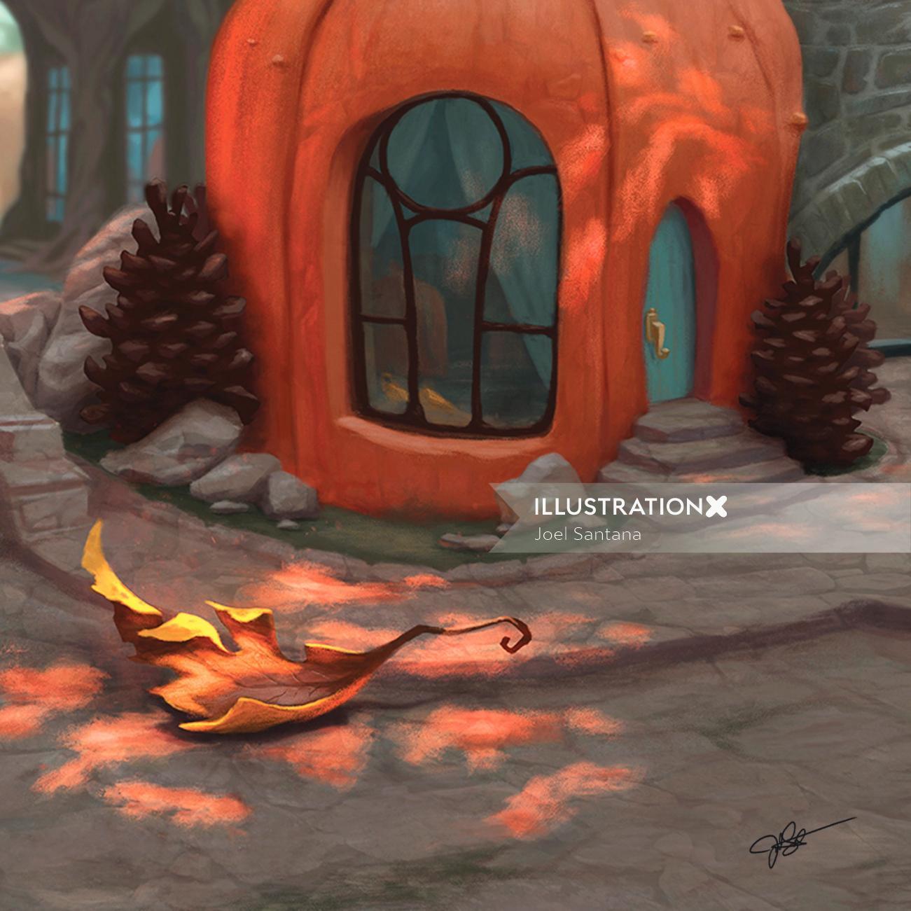 Pumpkin villa graphic illustration
