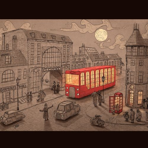 Digital painting of London street
