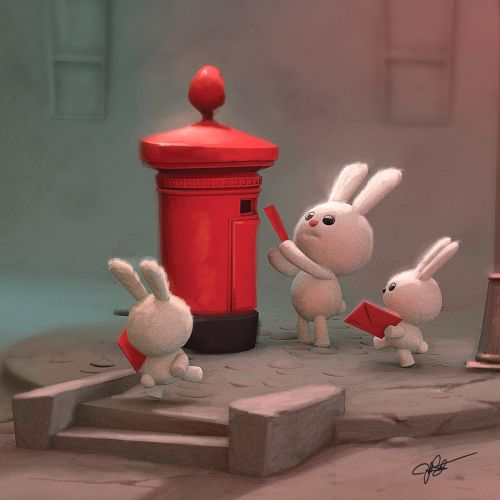 3D illustration of Bunnies sending postcards