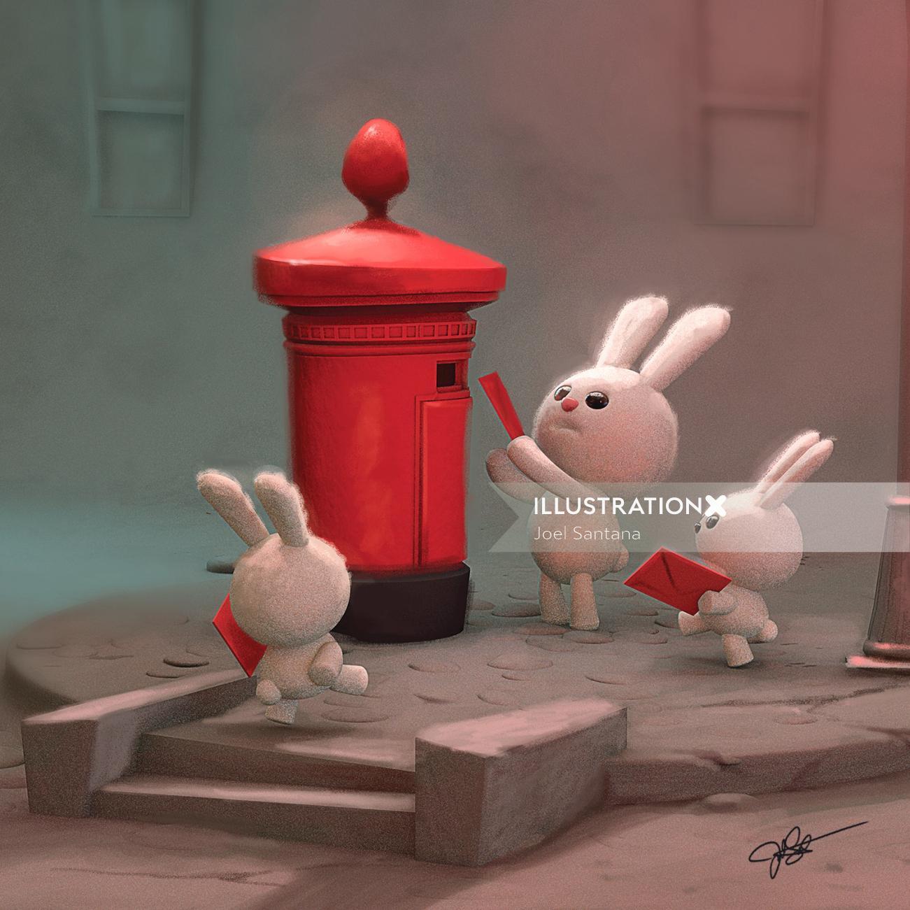 3D illustration of Bunnies sending postcards
