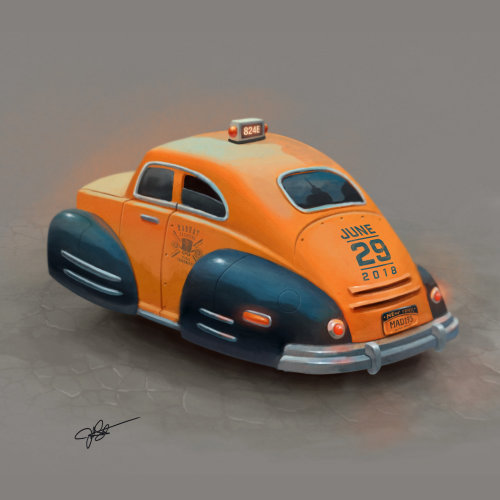 Car taxi digital painting