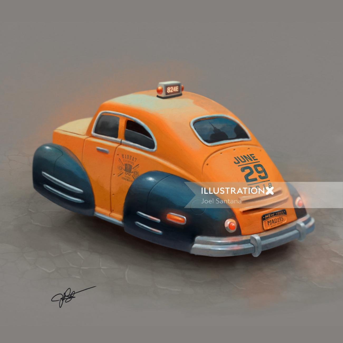 Car taxi digital painting