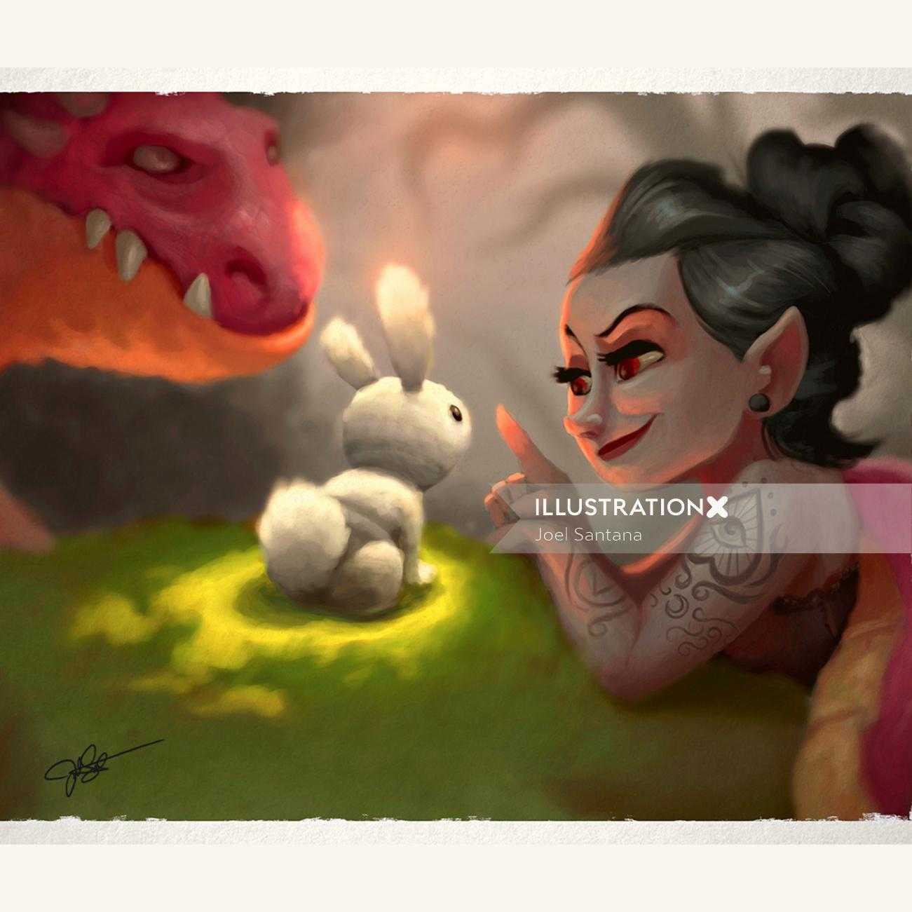 Character design of princess with dragon