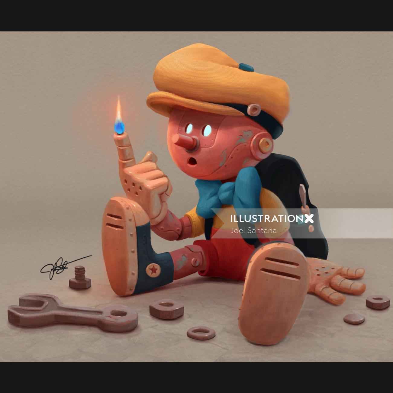 Digital painting of toy