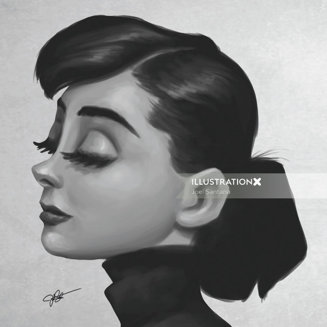 Audrey Hepburn black and white portrait art