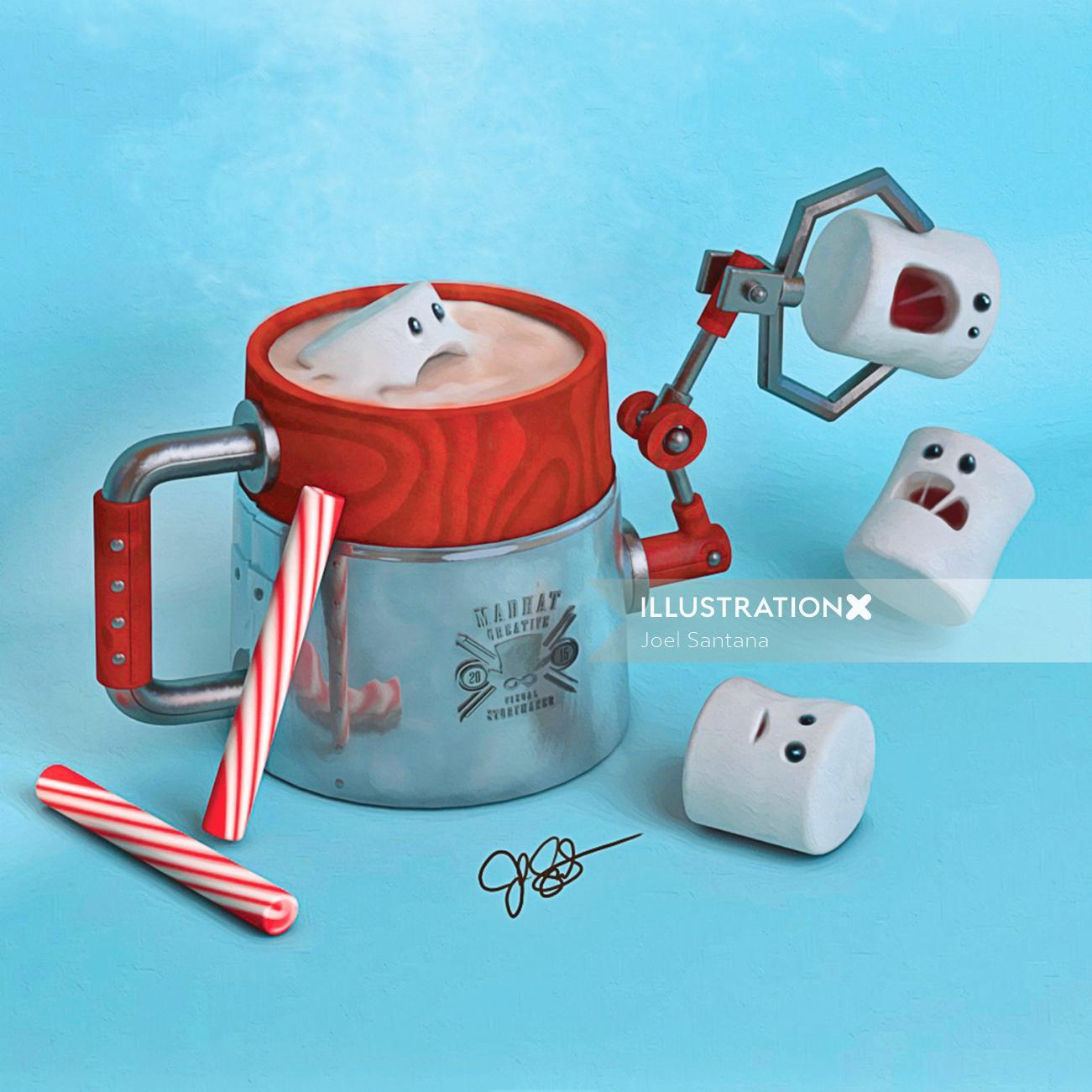 Graphic design of Hot coco machine