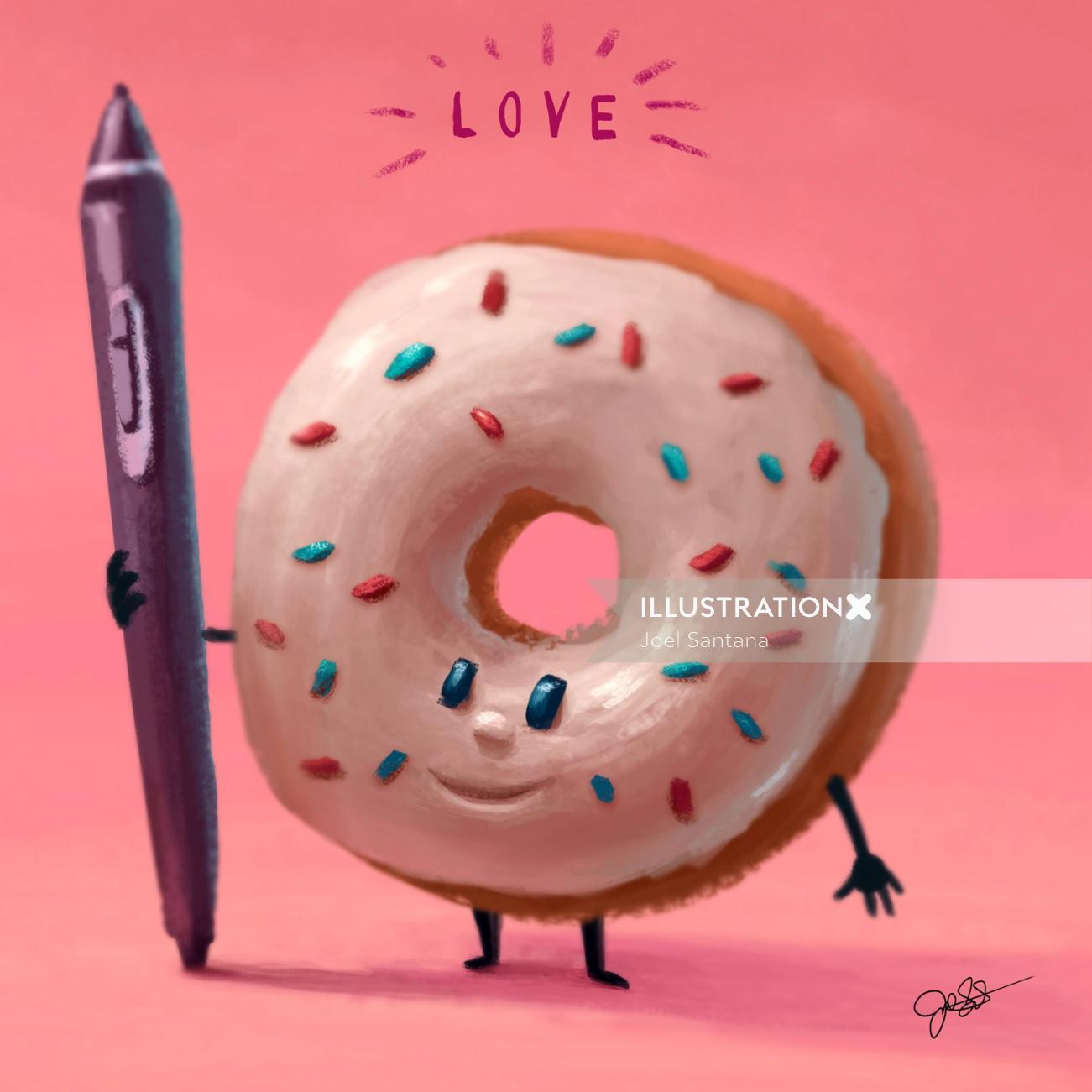 Cartoon illustration of donuts