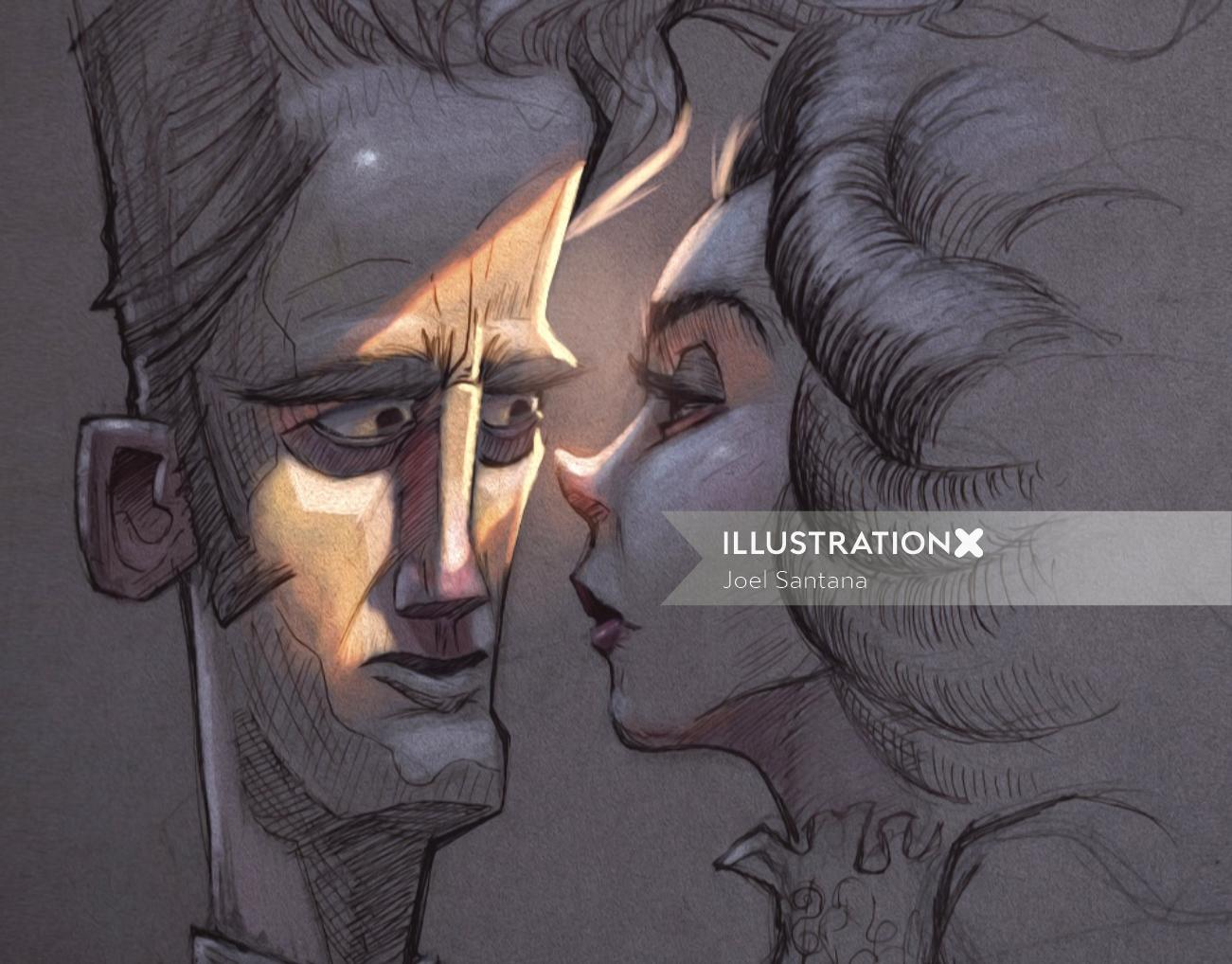 Sketch art of couples by Joel Santana