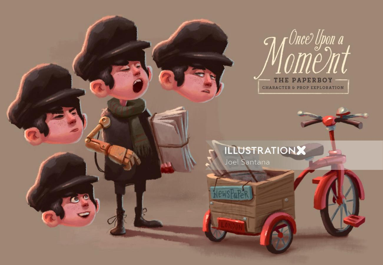 The paper boy character design for once upon a moment