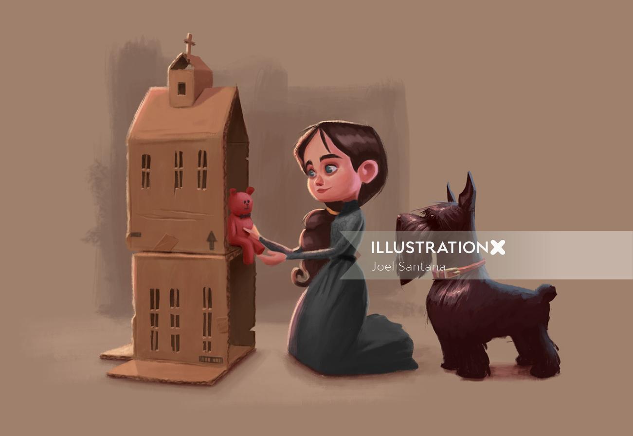 Girl making cardboard house painting