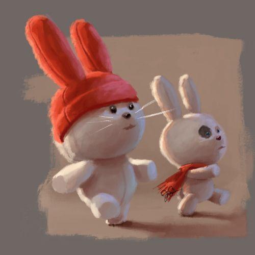 Graphic design of bunnies