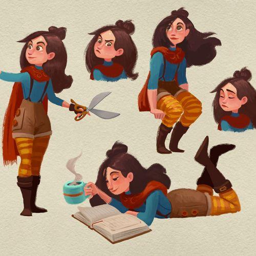 Black hair girl character design for children book