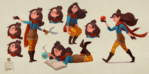 Black hair girl character design for children book