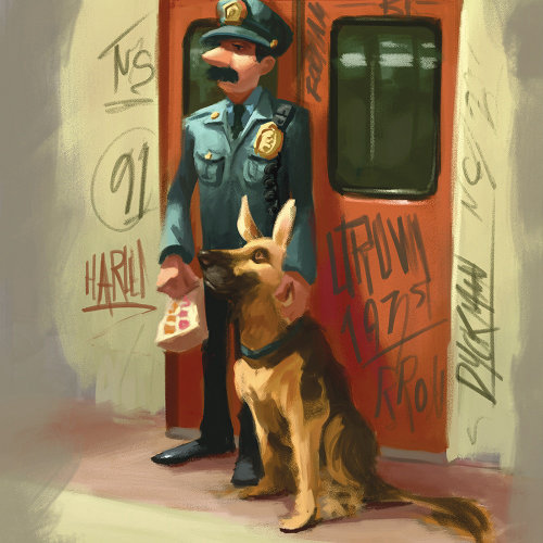 Character design of a policeman with dog