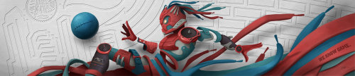 Digital mural illustration of robot for Champs Sports