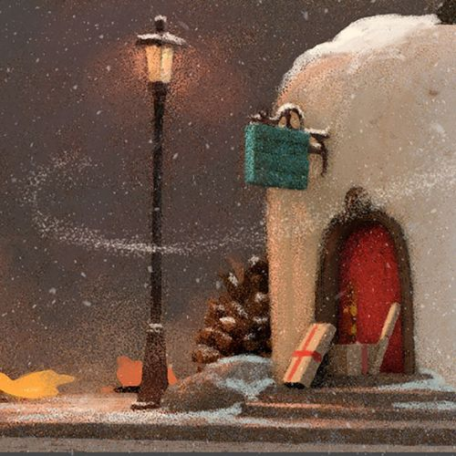 Snow house graphic illustration