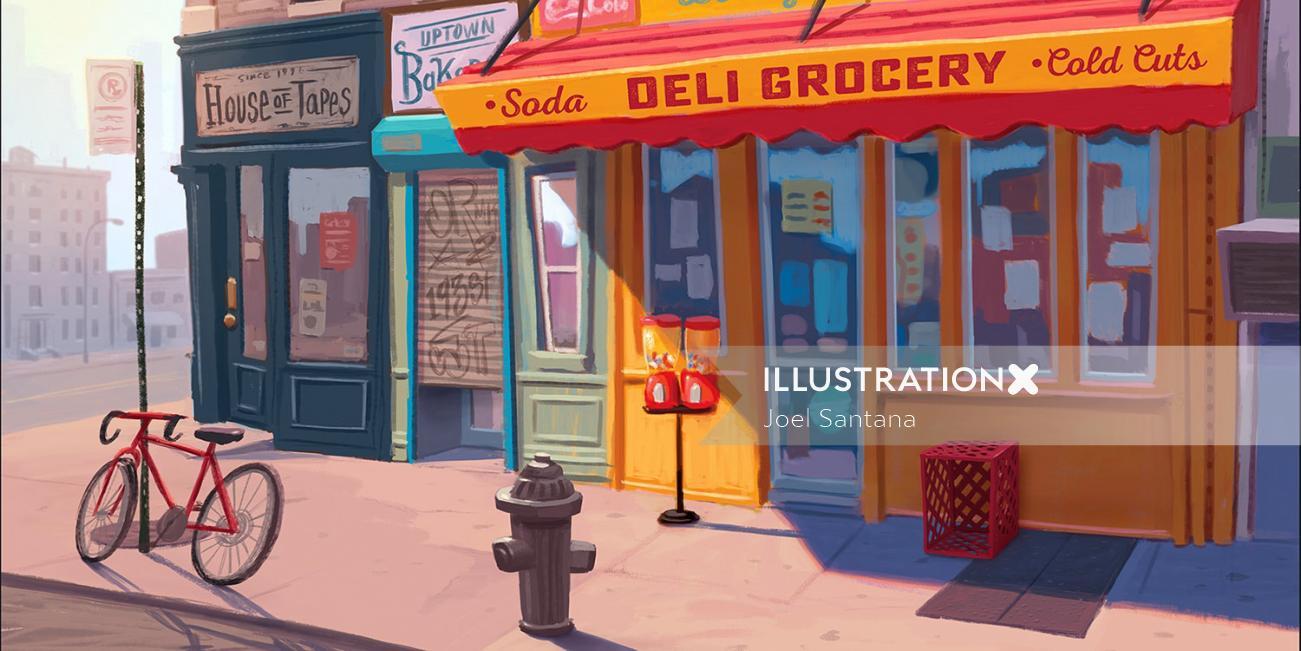 Graphic design of Deli grocery