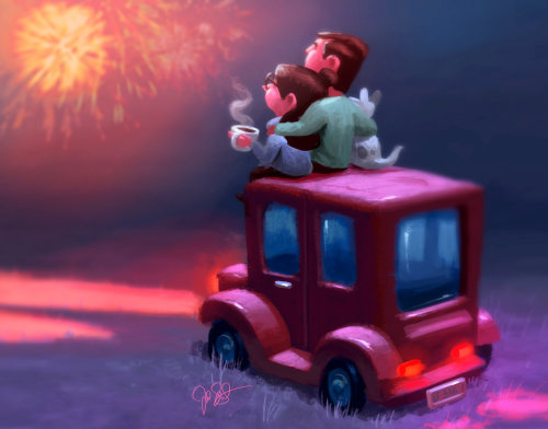 Digital painting of Happy new year