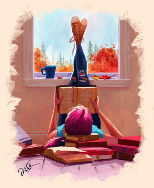 Digital art of Young man reading book